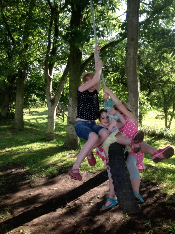 How many can we fit on a rope swing? Art school reunion.