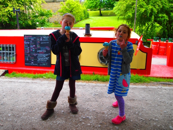Bubble gum ice cream beside the Saltaire ice cream barge!