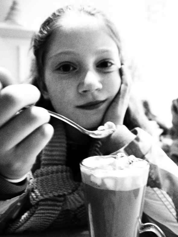 Warming up over a hot chocolate at Treacle market