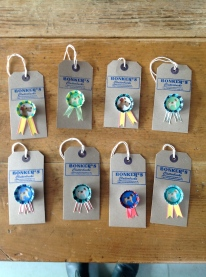 Bottle top dog brooches