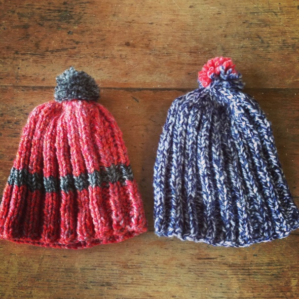 We bought these lovely wool bobble hats £7 each!