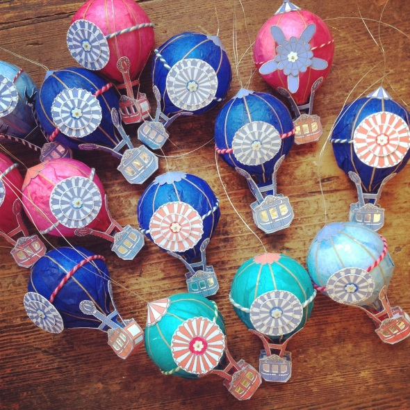 Tiny handmade hot air balloons