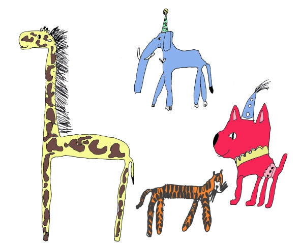 Heidi's circus animals in colour